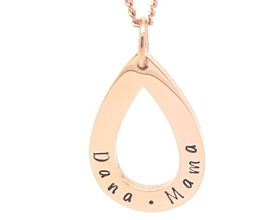 Rose Gold Personalised teap drop pendant / necklace Family names