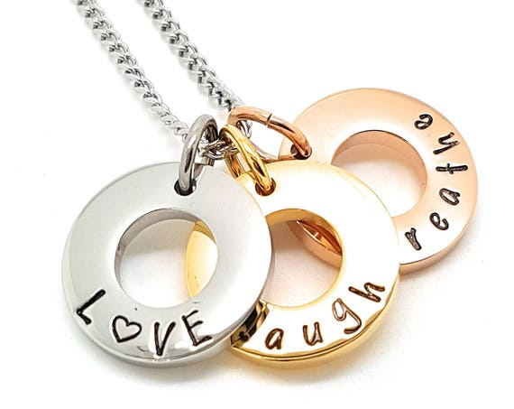 Coorabell Crafts triple circle Inscribed Love Laugh Breathe pendant is Silver, Golf and Rose Gold. Stylish pendant with a high gloss finish