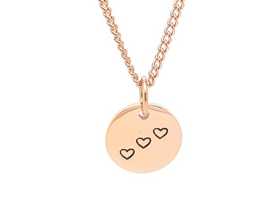 Rose Gold Disk Necklace, small circle, minimalist pendant, love heart, bridal gift idea, simple elegant rose gold pendant