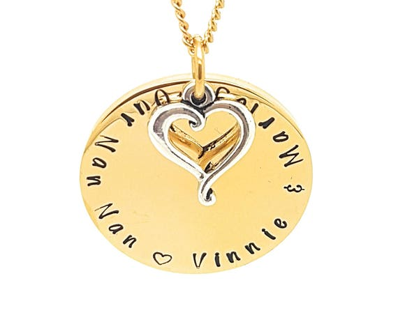 Gold and Silver Family Names Love Heart Pendant Personalised Jewellery Hand Stamped Name Necklaces Gold Family Name Pendants Gift