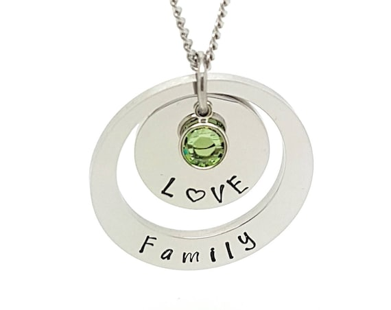 Birthstone Hand Stamped Pendant  Necklace