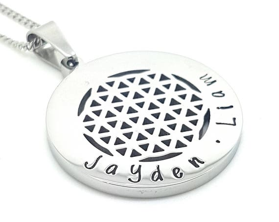 Sacred Geometry and the Flower of Life Silver Pendant Personalised Jewellery Inspirational Affirmation Jewellery