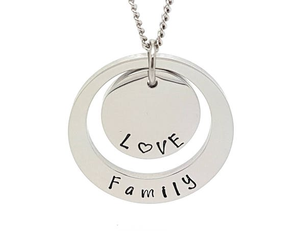 Personalised Jewellery, Personalised Necklace, Family Necklace, Silver Hand Stamped Pendant  Necklace  - Mum Present - Gift for Friend