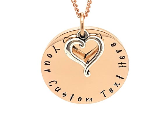 Personalised Family Name Necklace Rose Gold and Antique Silver Love heart Charm Personalised Gift Made to Order. Hand Stamped Gift for Mum