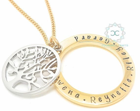 Personalised Jewellery, Personalised Necklace, Family Necklace, Hand Stamped Gold Pendant with Sterling Silver Large Tree of Life Charm
