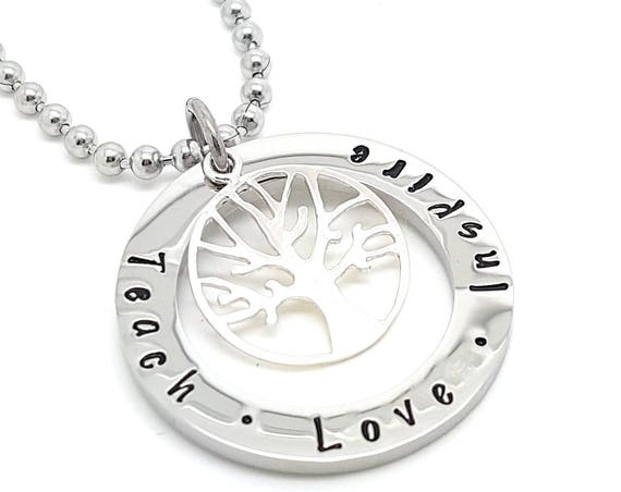 Coorabell Crafts Silver Circle penant with Tree of Life Teacher Gift Teach Love Inspire Appreciation gift Gift for Coach  Gift for Teacher,