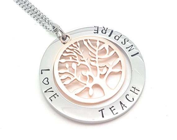 Coorabell Crafts Silver circle pendant with Rose Gold tree of Life Inscribed Love Teach Inspire, perfect Gift idea for teachers & graduates