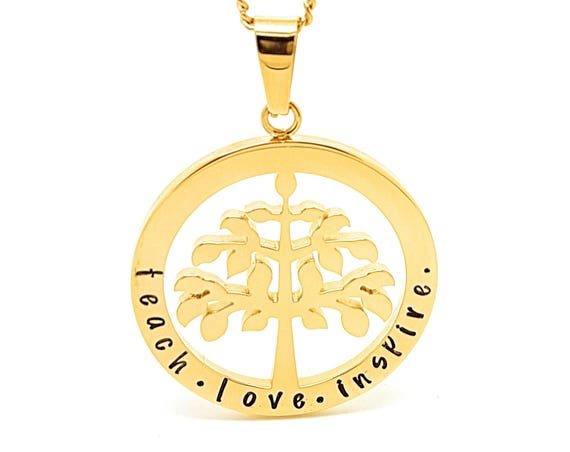 Family Names Tree of Life Pendant Personalised Jewellery Hand Stamped Name Necklaces Gold Family Name Pendants Tree of Life Gift Australia