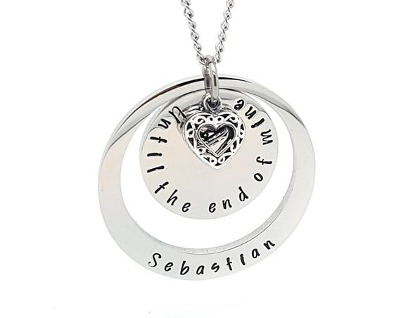 Two ring silver necklace, disk and circle pendant with sterling silver love heart charm, personalised famliy names jewellery, unique gift