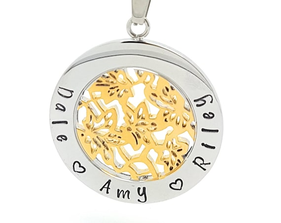 Hand Stamped Family Names Necklace - Custom made Silver and Gold Flower Design