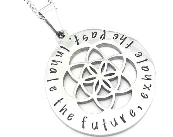 Sacred Geometry and the Flower of Life Silver Pendant Inspirational Affirmation Jewellery