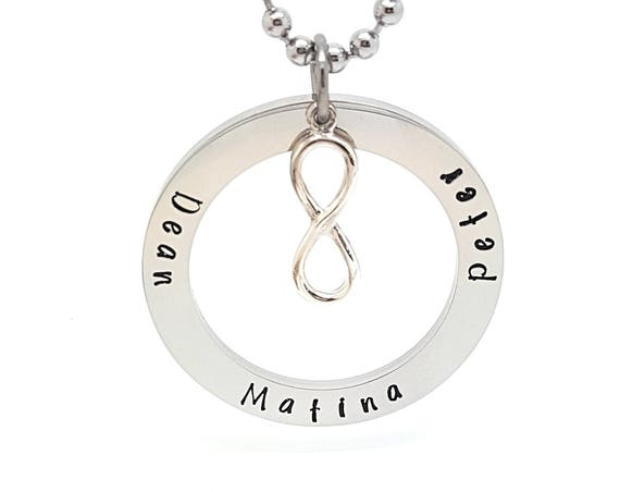 Infinity charm Silver circle childrens names jewellery