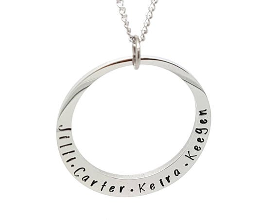 Hand Stamped Silver Circle Pendant with Personalised Text Necklace and Gift box Included, Hand Stamped quality surgical steel hypoallergenic