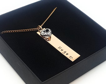 Rose Gold Rectangle Bar Neckalce,  Name Jewellery with Sterling Love Heart Charm. Hand Stamped Custom Made, Personalised Pendant