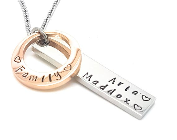 Gift for New Mum, mother gift, Gift for her, Mothers Day Gift Ideas, Personalised Jewellery Necklace Pendant Hand Stamped