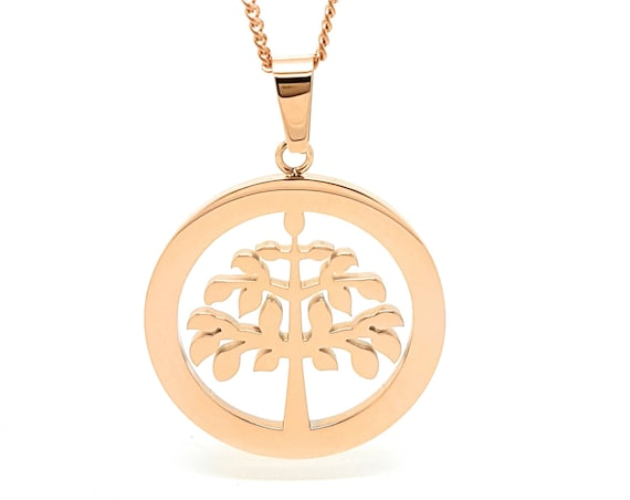 Coorabell Crafts Rose Gold Tree of Life Pendant, Rose Gold necklace and stylish gift Box. Perfect Gift Idea