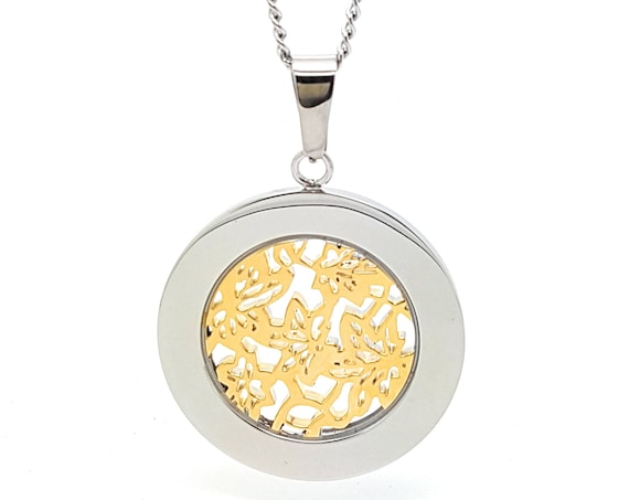 Coorabell Crafts Circle Pendant Two tones Silver and Gold with filigree flower pattern centre, Silver necklace and stylish gift box