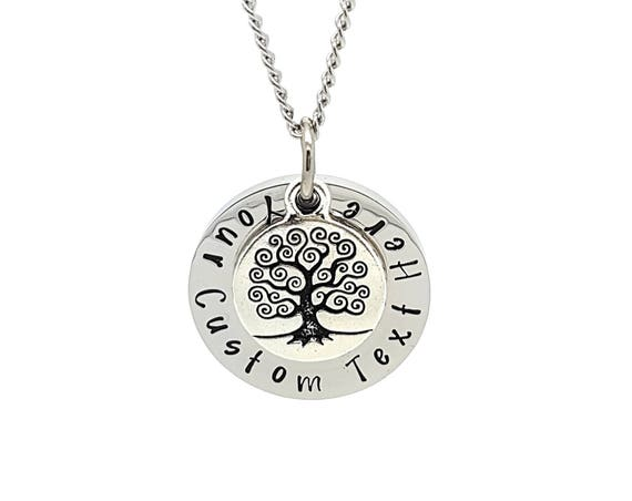 Personalised Jewellery, Personalised Necklace, Family Necklace, Custom Text Hand Stamped Necklace with Silver Tree of Life Charm