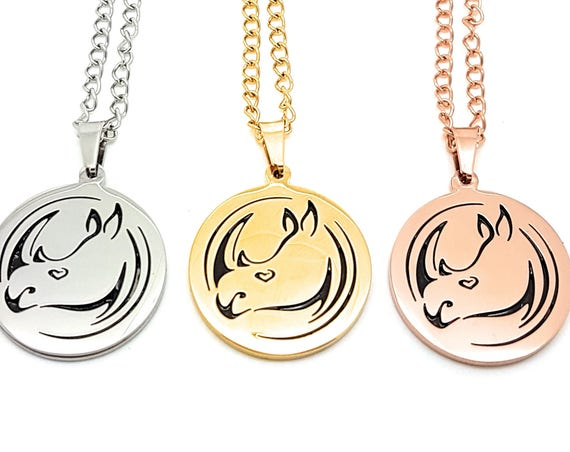 Rhino Jewellery Hand drawn Rhino Pendant exclusive to Coorabell Crafts available is Silver, Gold or Rose Gold. Supporting IAPF