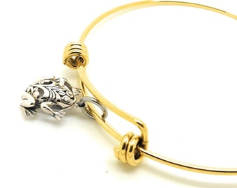 Frog sterling silver charm bangle