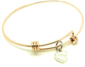 Rose Gold Solid Love Heart Bracelet Bangle sterling silver charm