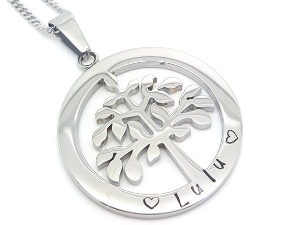 Family Names Tree of Life Pendant Personalised Jewellery Hand Stamped Name Necklaces Silver Family Name Pendants Tree of Life Australia