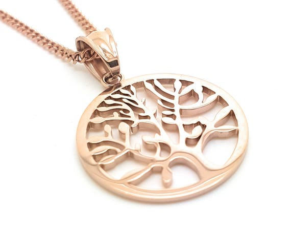 Rose Gold Tree of Life Pendant and Necklace,  The Tree of Life represents family and Growth, Timeless unique minimalist