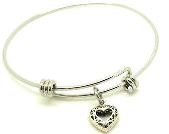 Love Heart Bracelet Bangle sterling silver charm