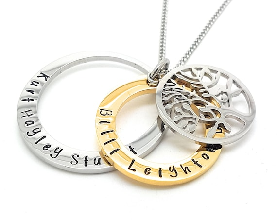 Two Ring Hand Stamped Necklace in Gold and Silver, adorned with a tree of life charm, Personalised with you own names or Message. Gift ideas