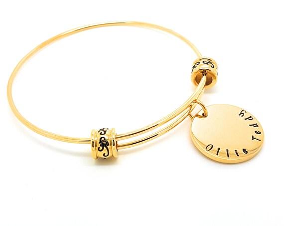 Personalised Jewellery, Personalised Braclet, Charm Bracelet, Expandable Bangle Bracelet, Gold Charm Bangle, Charm Bracelet