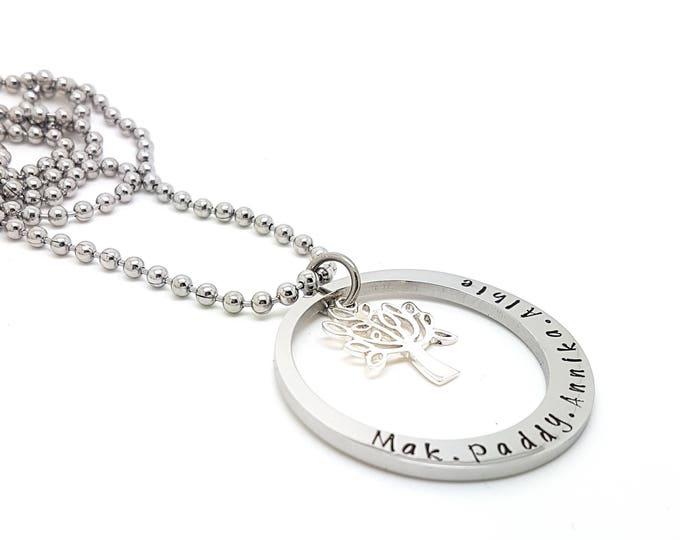 Family tree personalised family names tree of life pendant personalised jewellery hand stamped name necklaces silver family name pendants aloadofball Image collections