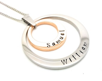 Rose Gold and Silver Personalised family names pendant