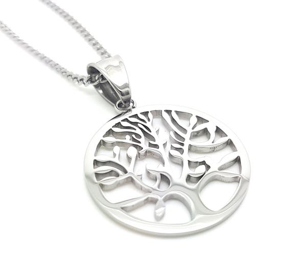 Coorabell Crafts Silver Tree of Life Circle Pendant and Necklace with stylish Gift box