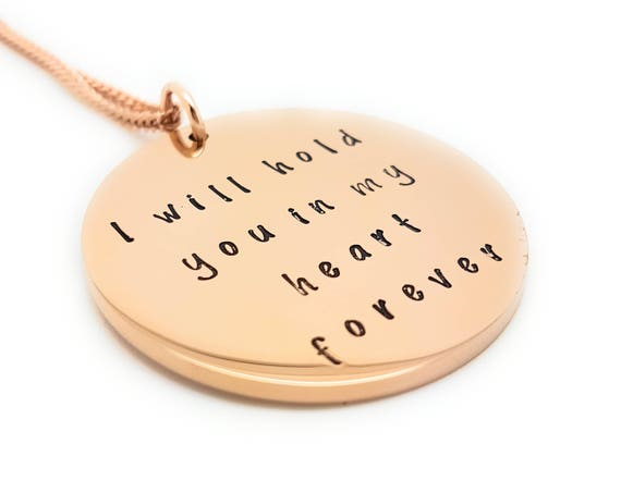 "Rose Gold Memorial Loss pendant, ""I will hold you in my heart forever"" Remembrance Jewellery Gift Box Memorial Gifts"