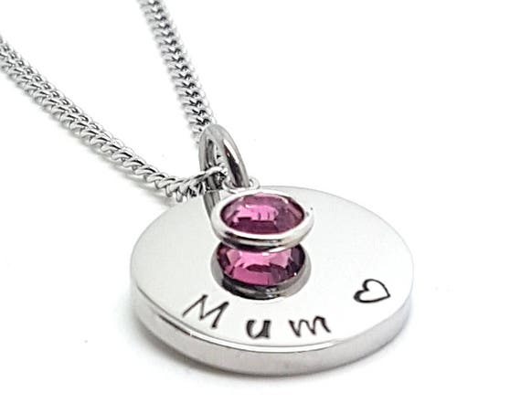 Dainty Birthstone Hand Stamped Pendant Small  - gift idea for daughter - gifts for girls