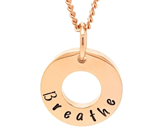 "Coorabell Crafts Rose Gold minimalist pendant, Inscribed with the word ""Breathe"" Affirmation reminder to slow down."