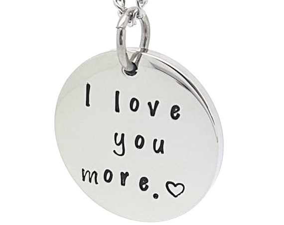 Coorabell Crafts Hand Stamped Silver Disk Pendant  - I love you more Circle Pendant with Gift box