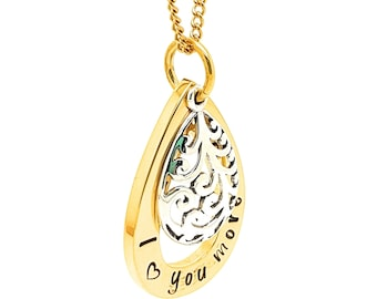 """Gifts for her, Gold teap drop pendant """"I love you more"""" necklace filigree Silver charm"""