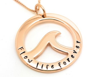 Rose Gold Ocean Wave Pendant Necklace Hand Stamped Personalised Ocean Pendant,  Wave Pendant, Surfer Pendant