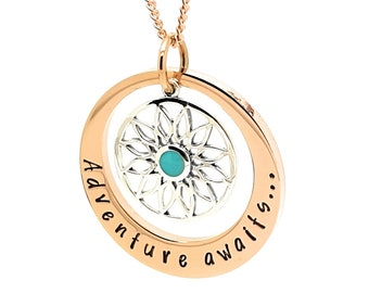 Graduation Gift, Travellers Gift, Deprture Gift. Adventure Awaits Rose Gold and Sterling Silver pendant necklace
