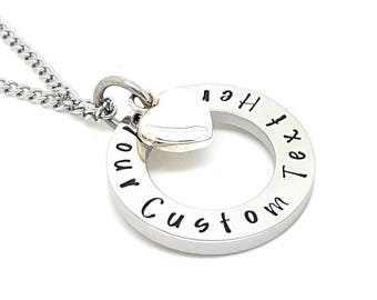 Family Necklace, Personalized Jewelry Australia,  Hand Stamped Silver Names necklace with Love Heart Charm