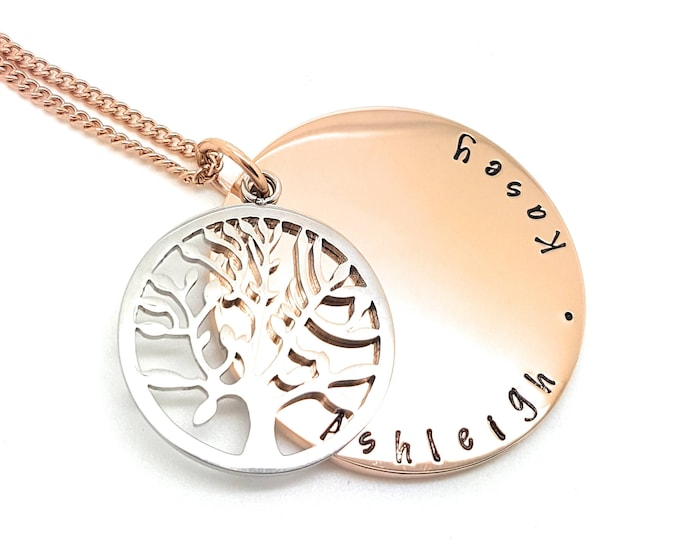 Featured listing image: Rose Gold and Sterling Silver Tree of Life Personalised Family Names Necklace. Made to Order. Hand Stamped