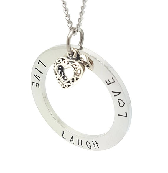 Coorabell Crafts Silver Circle Pendant with Filigree Love heart charm, inscrived LIVE LAUGH LOVE Gift box included