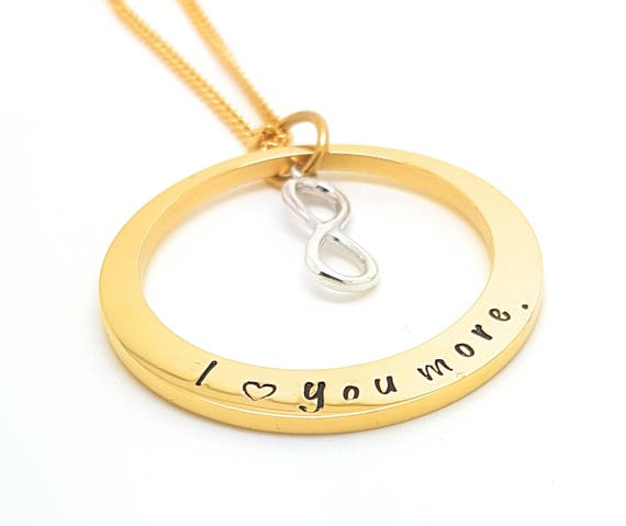Hand Stamped Gold Names necklace with sterling infinity charm, Customise personal Family Necklace