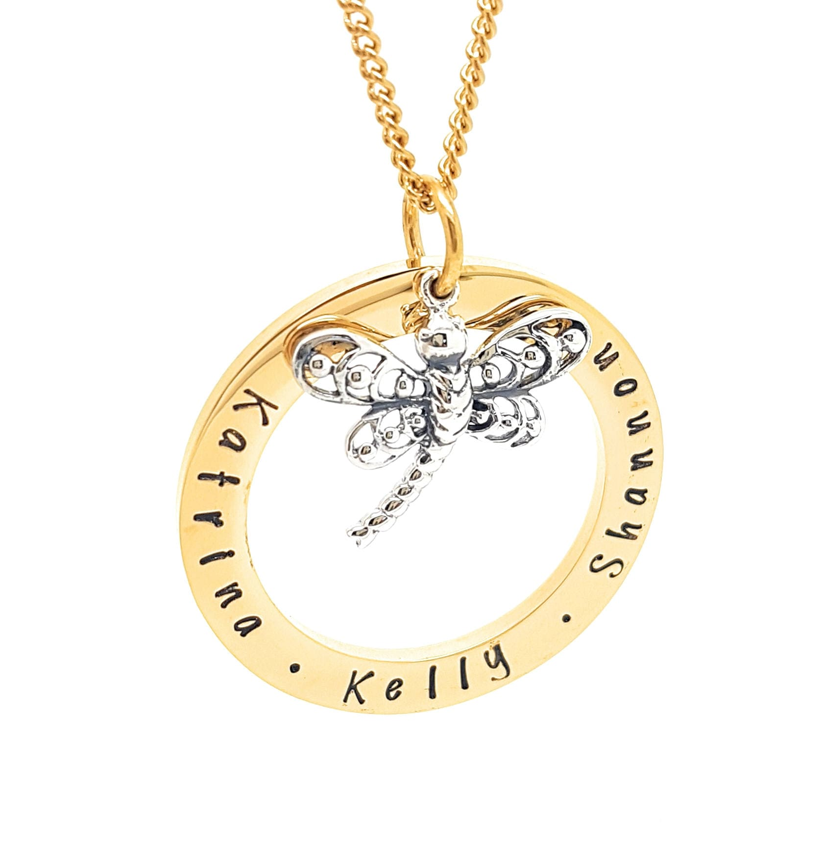 Personalised jewellery personalised necklace family necklace hand personalised jewellery personalised necklace family necklace hand stamped gold pendant with dragonfly charm friendship necklace unique aloadofball Choice Image