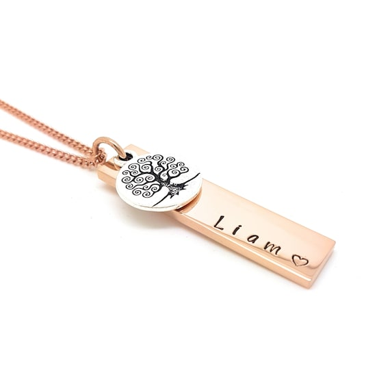 Rectangle Bar Names Family Necklace Rose Gold with Antique Silver Tree of Life Charm, Customised with Own Names Family Necklace Hand Stamped