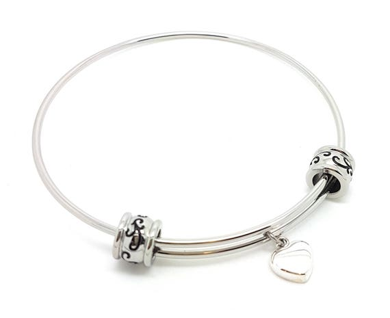 Coorabell Crafts Silver charm bangle with sterling silver love heart and filigree beads