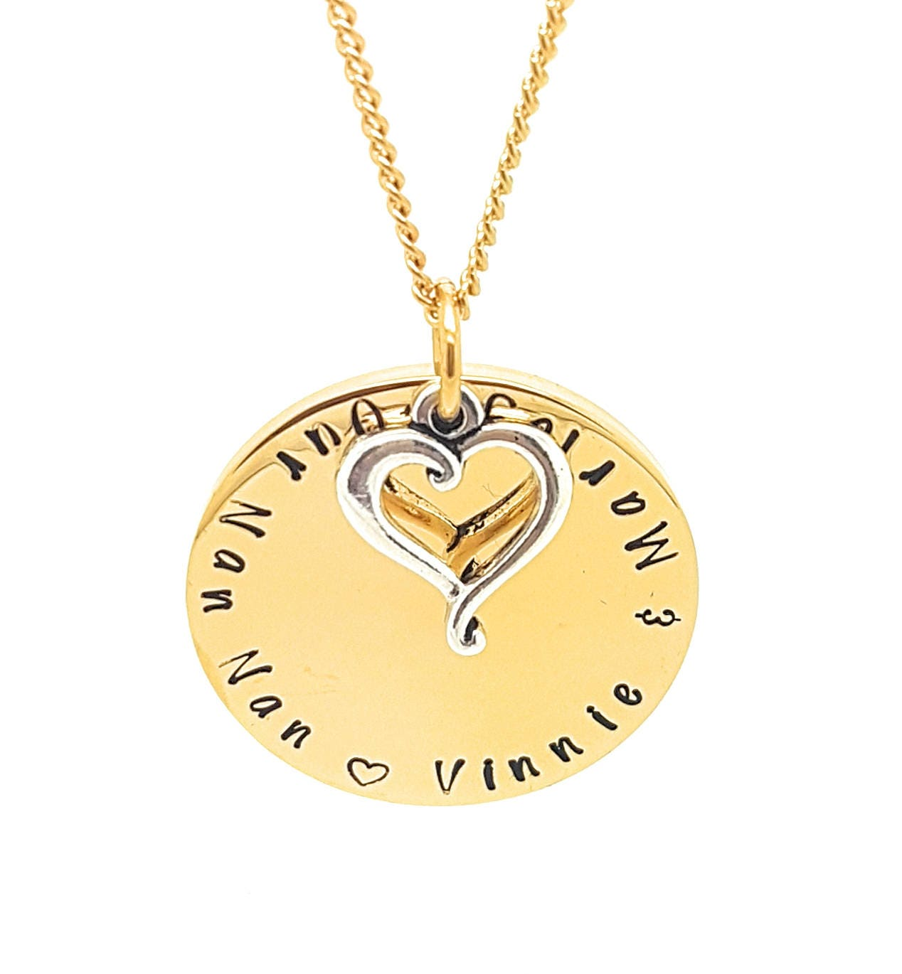 Gold and silver family names love heart pendant personalised gold and silver family names love heart pendant personalised jewellery hand stamped name necklaces gold family name pendants gift aloadofball Gallery