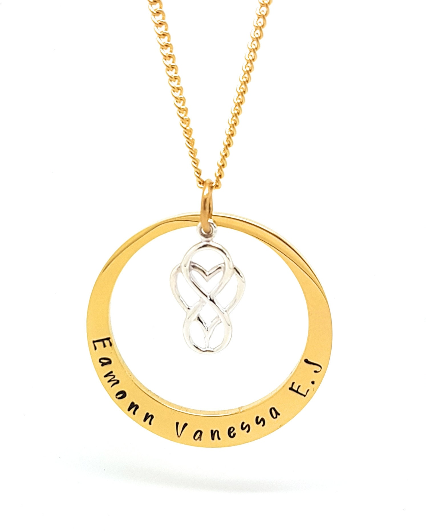 Birthday Gift Ideas 18th 21st 50th Personalised Necklace With Family Names Silver Love Heart Infinity Charm