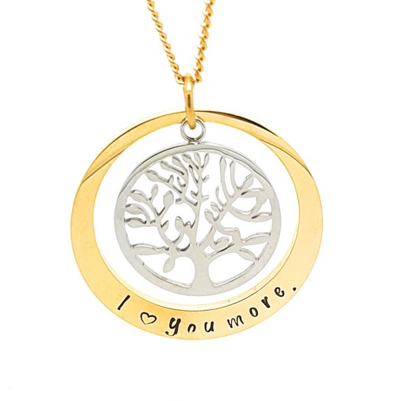 Coorabell Crafts Gold circle pendant with Silver Tree of Life charm, Inscribed I Love You More, Gift box included